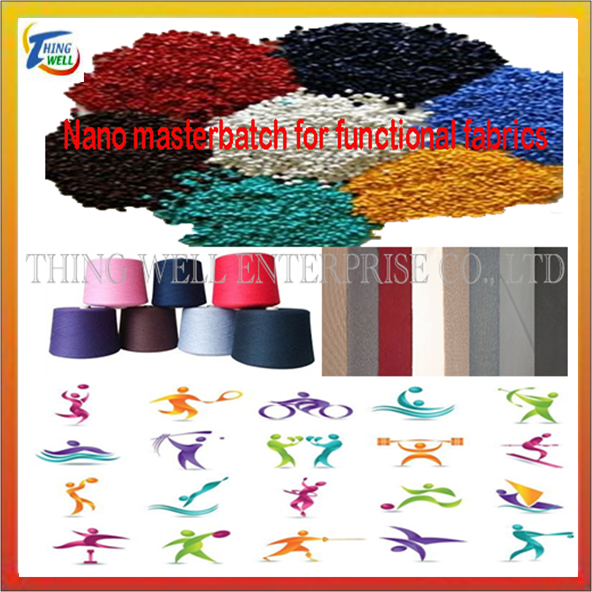 Nano masterbatch for functional fibers and fabrics